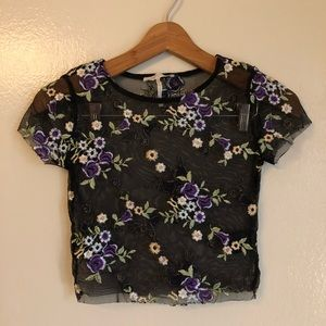 Urban Outfitter sheer floral crop top Size XS